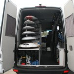 Wind Surfing Sprinter Van, Custom Made Board Racks, Interior and Cabinets